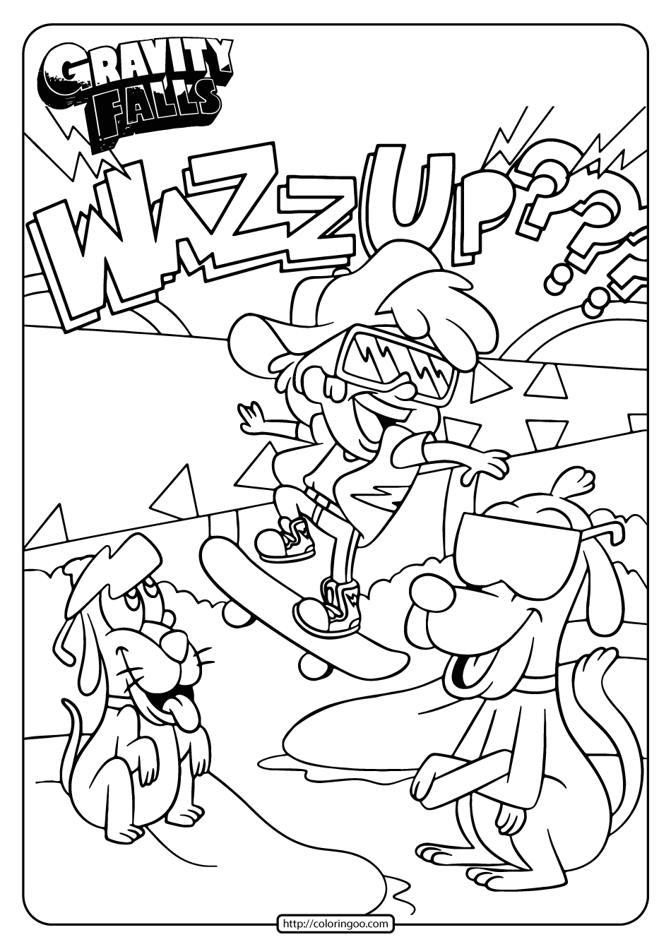 Gravity Falls Dipper Skateboarding Coloring Page