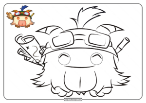 Printable LOL Teemo Poro Coloring Pages