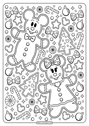 Printable Mickey - Minnie Mouse Holiday Coloring Page