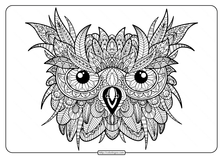 Printable Owl Mandala PDF Coloring Pages