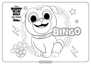Printable Puppy Dog Pals Bingo Coloring Book Page