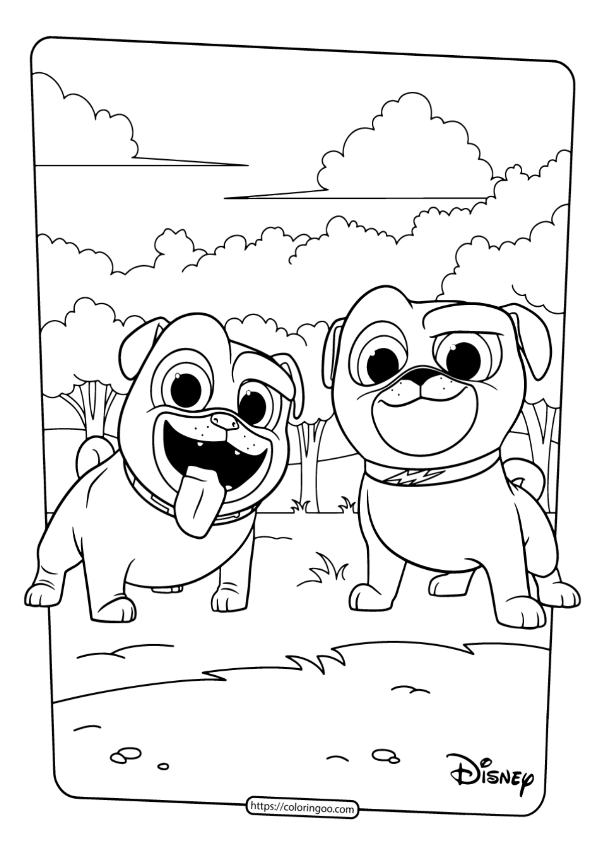 Printable Puppy Dog Pals Coloring Book Pages 01