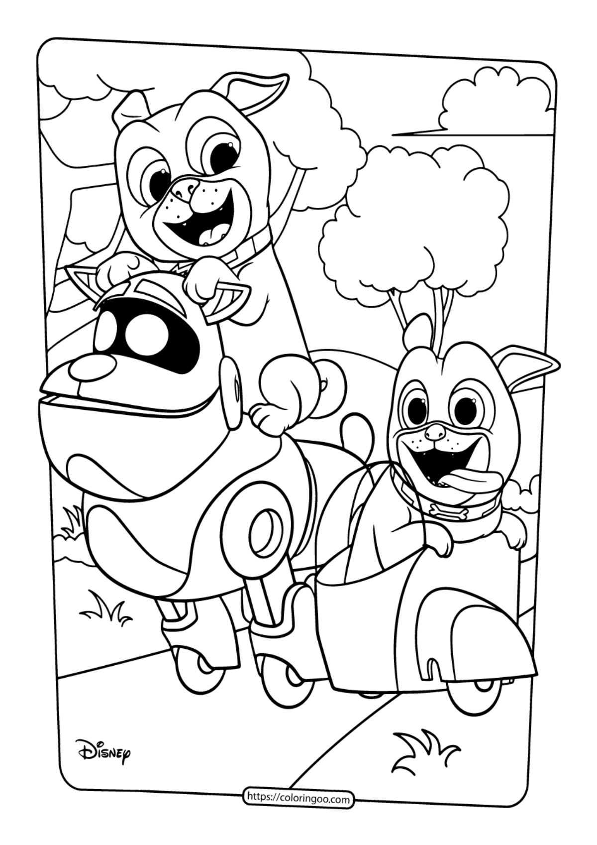 Puppy Dog Pals Coloring Pages Bingo | Malvorlagen, Disney junior ... | 1697x1200