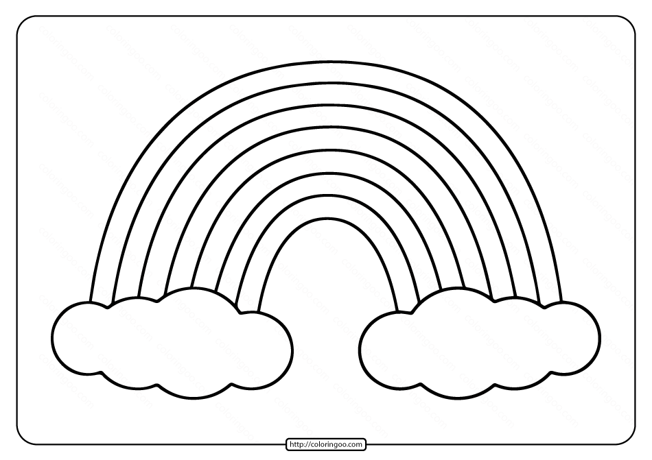 Printable Rainbow Coloring Page for Kids