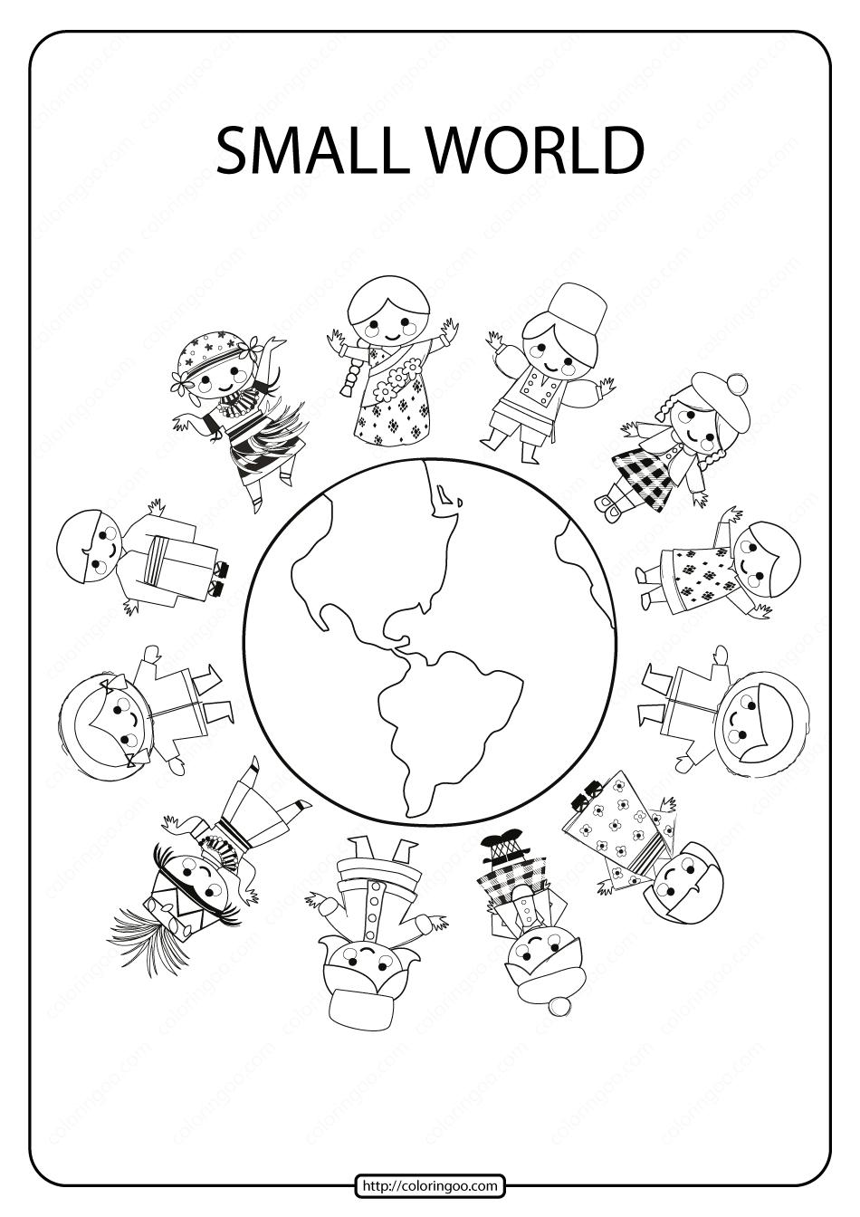 Printable Small World Pdf Coloring Page