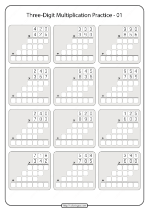 Printable 5th Grade Multiplication Worksheet 01