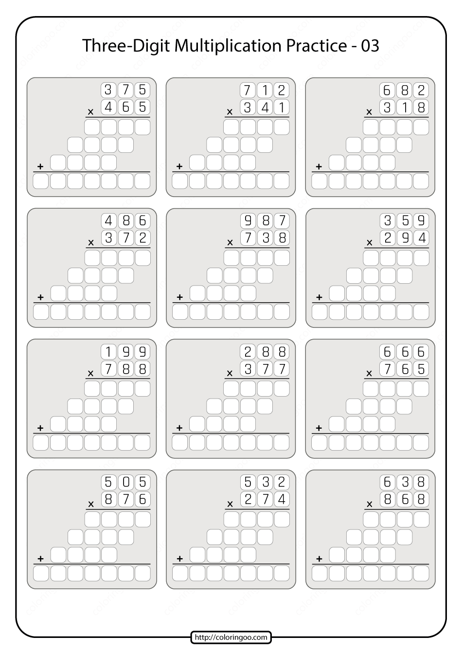 Three-digit Multiplication Practice Worksheet 03