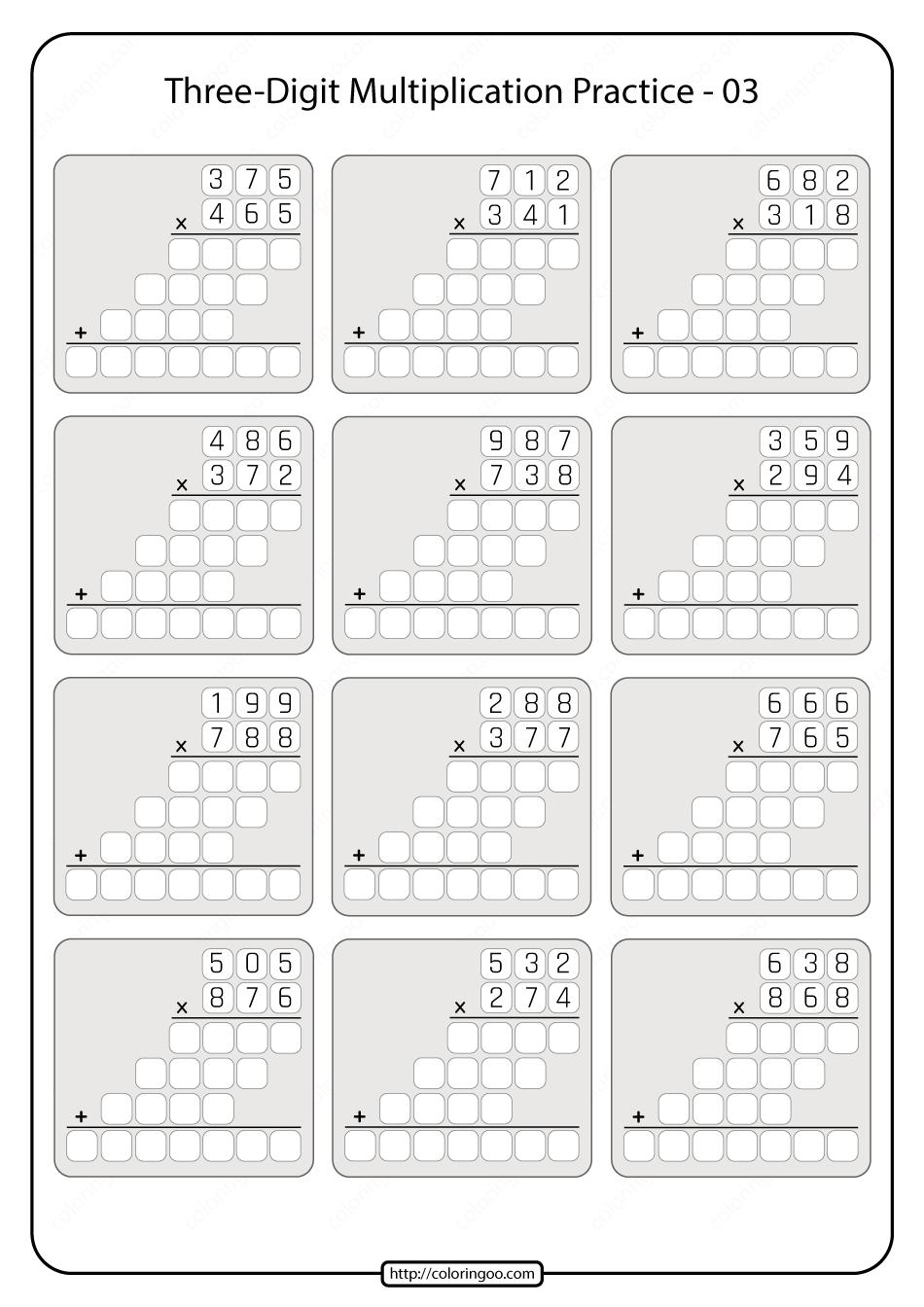 Three-digit Multiplication Practice Worksheet 03