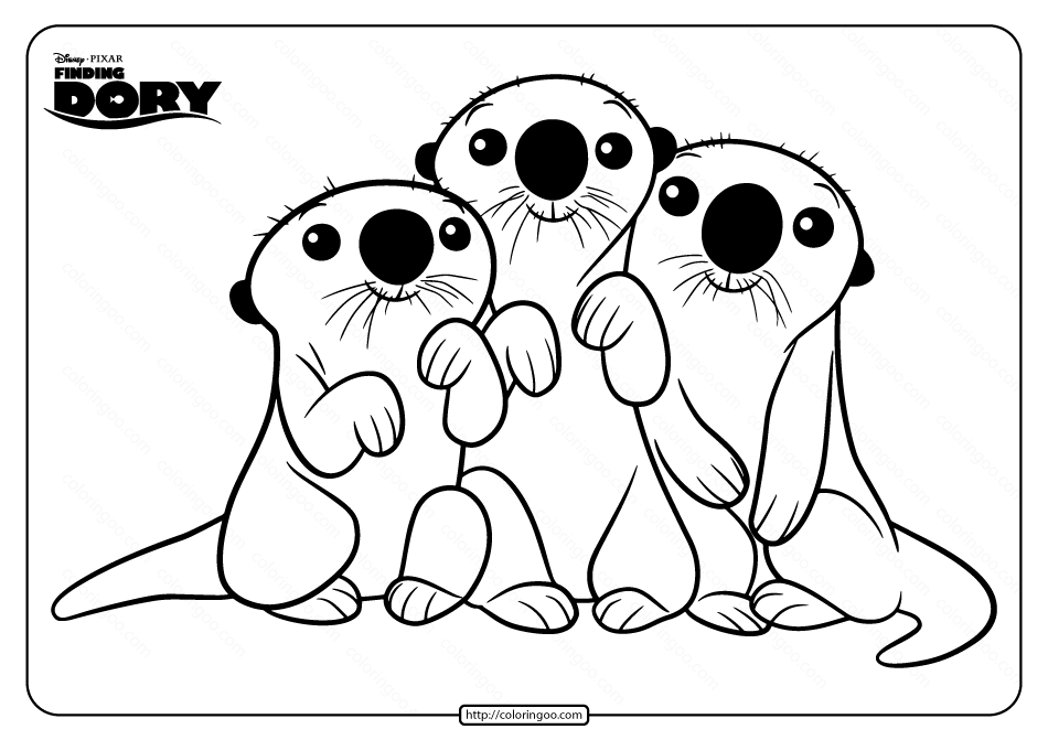 Disney Finding Dory Otters Pdf Coloring Page