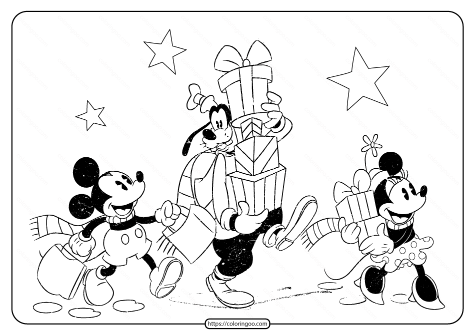 Disney Mickey and Friends Christmas Coloring Page