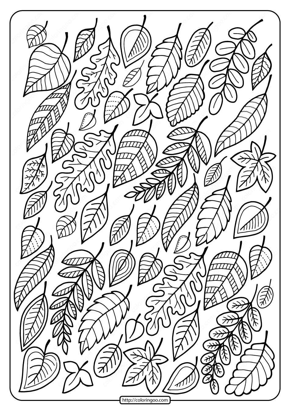 Free Printable Falling Leaves Coloring Page