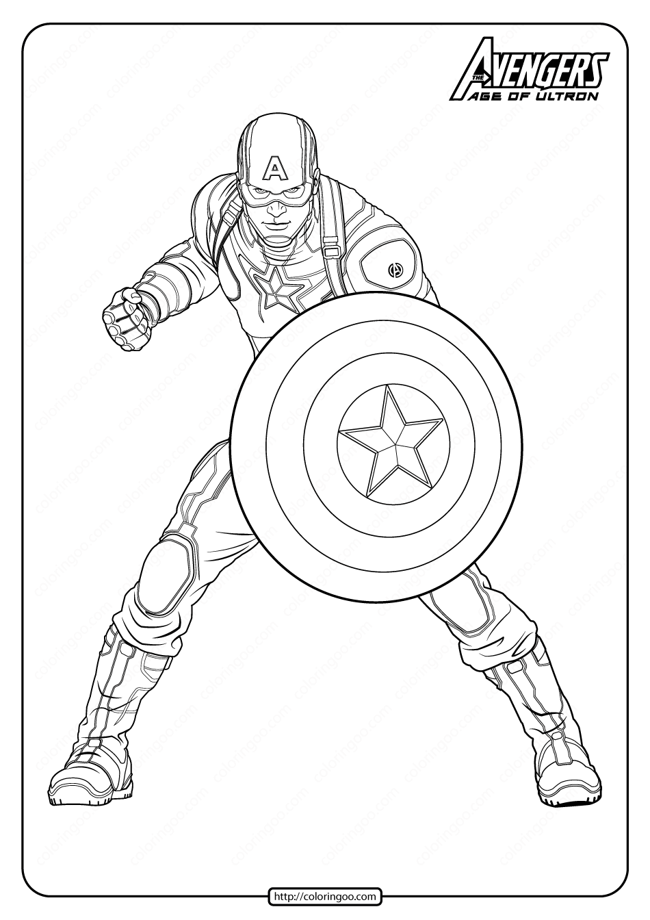Marvel Avengers Captan America Pdf Coloring Pages