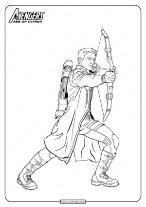 Marvel Avengers Hawkeye Pdf Coloring Pages