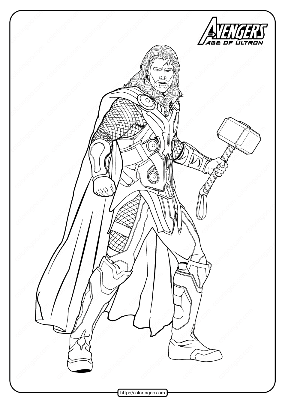 Marvel The Avengers Thor Pdf Coloring Pages