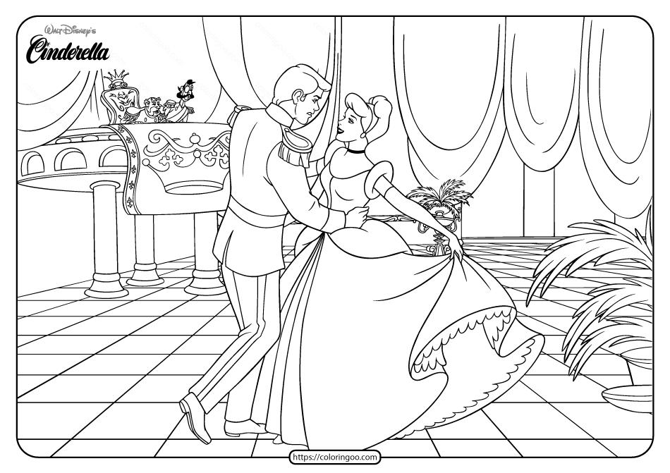 Printable Disney Cinderella Ballroom Coloring Page