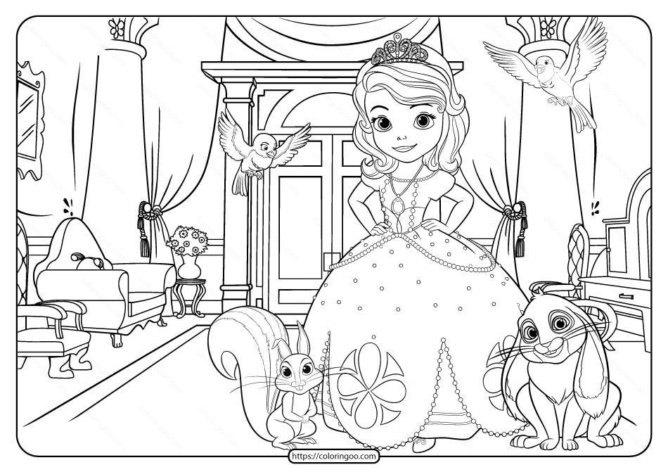 Printable Disney Sofia the First Pdf Coloring Page
