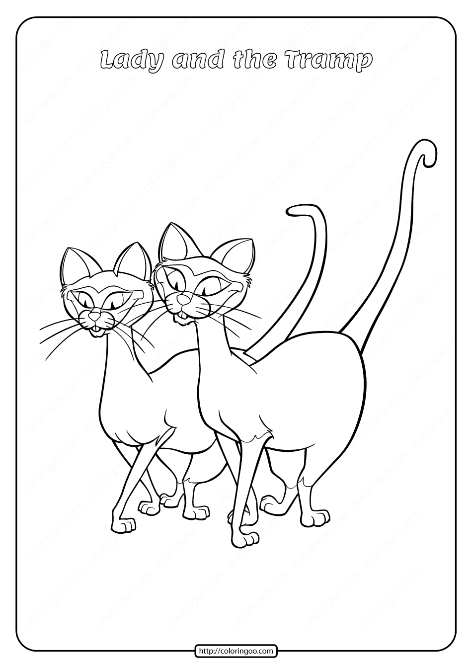 Printable Lady and the Tramp Coloring Pages 04
