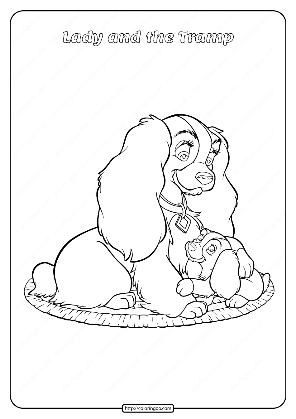 Printable Lady and the Tramp Coloring Pages 06