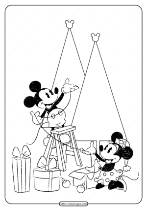 Printable Mickey & Minnie Christmas Coloring Page