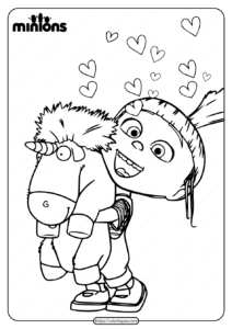 Minions Agnes Gru and Unicorn Coloring Page