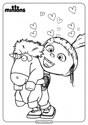 Printable Minions Agnes Gru and Unicorn Coloring Page