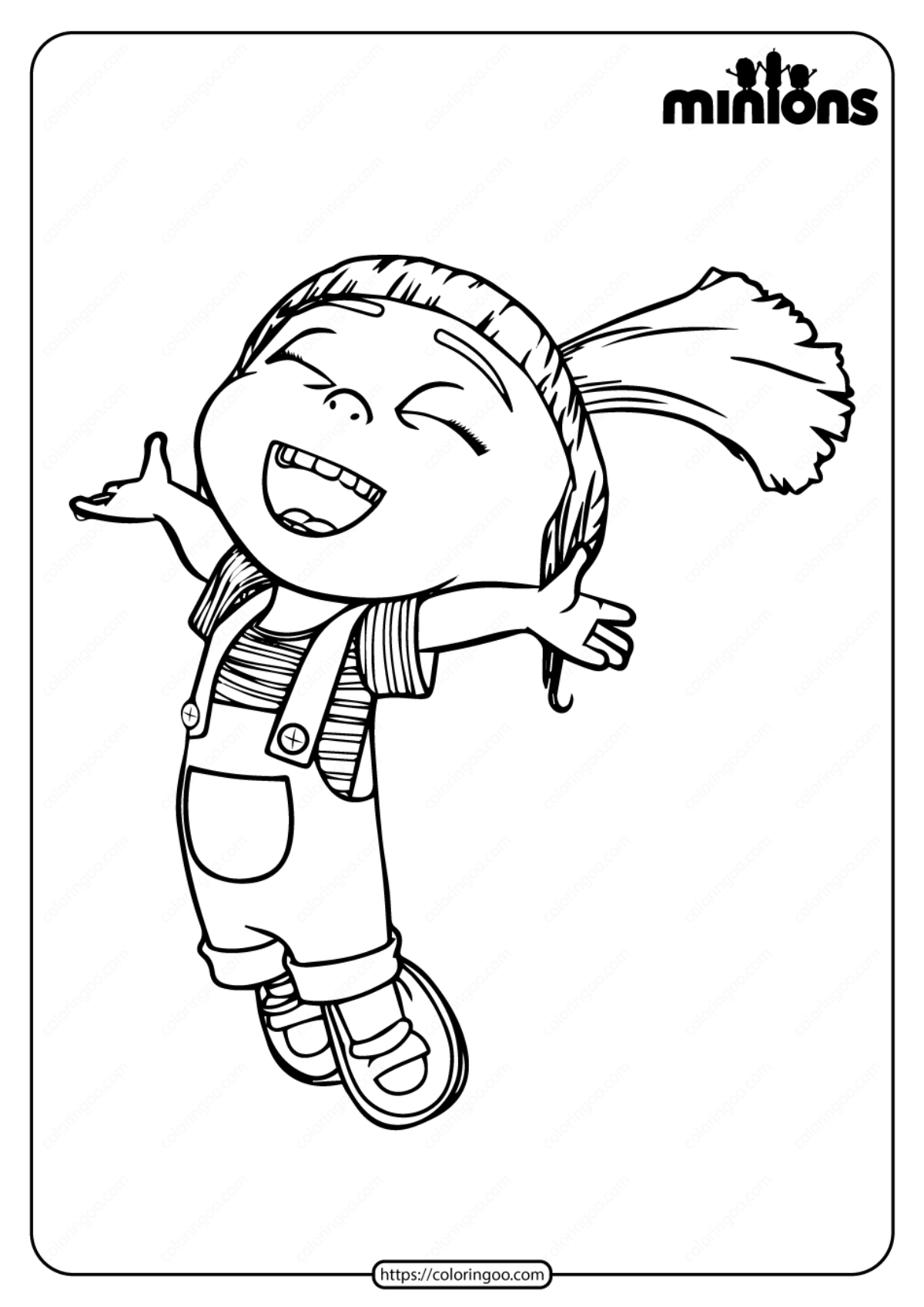 Agnes with Unicorn coloring page | Free Printable Coloring Pages | 1697x1200