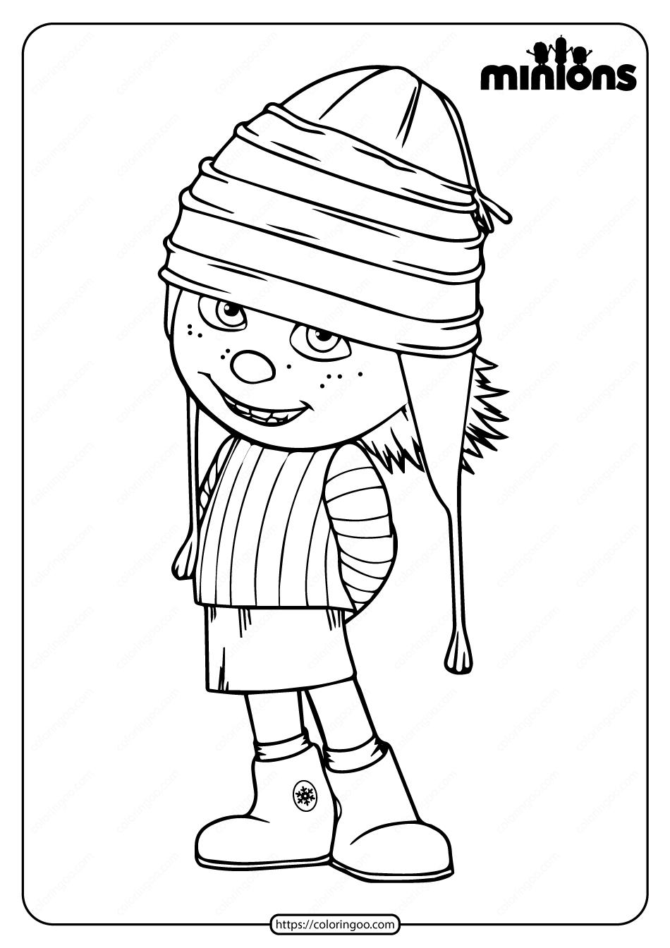Printable Minions Edith Gru Pdf Coloring Page