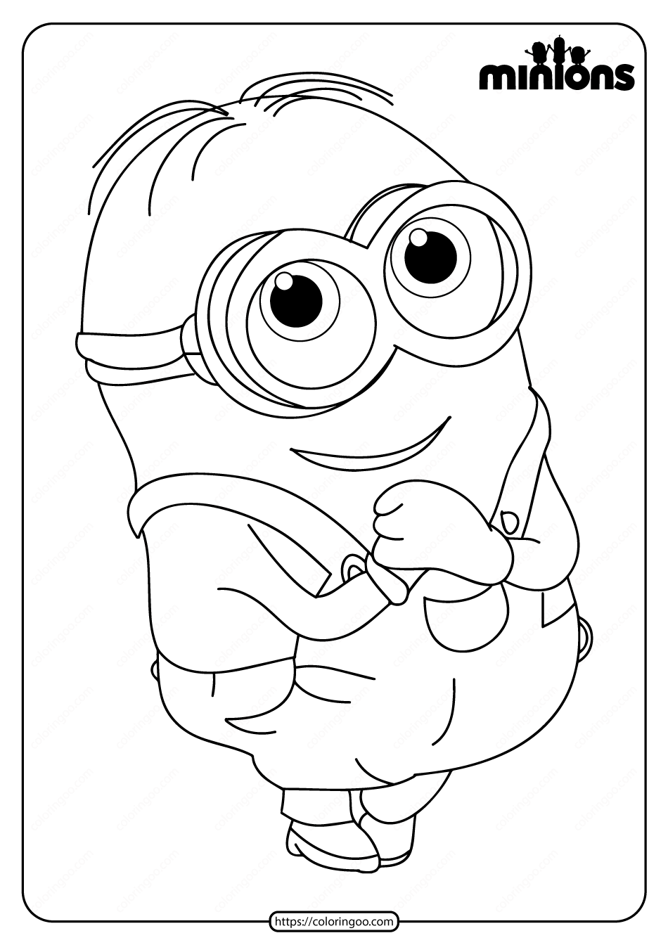 Printable Minions Pdf Coloring Page
