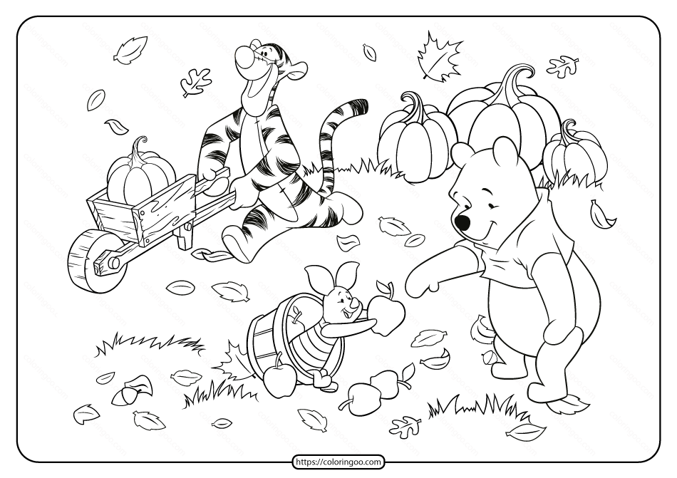 Winnie the Pooh and Friends Fall Coloring Page