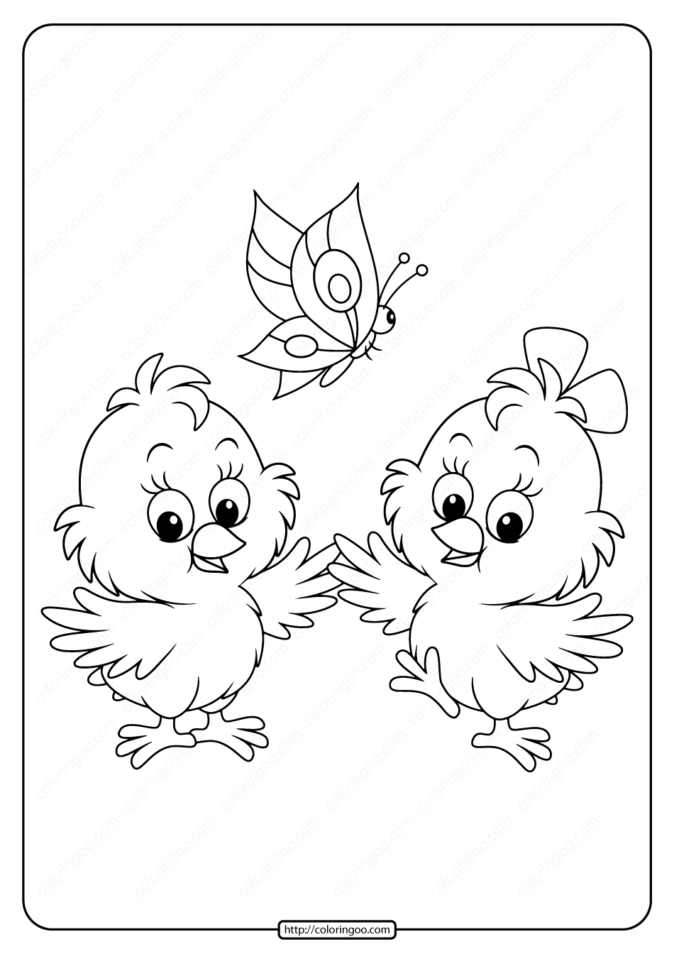 Baby Chick And a Butterfly Pdf Coloring Page