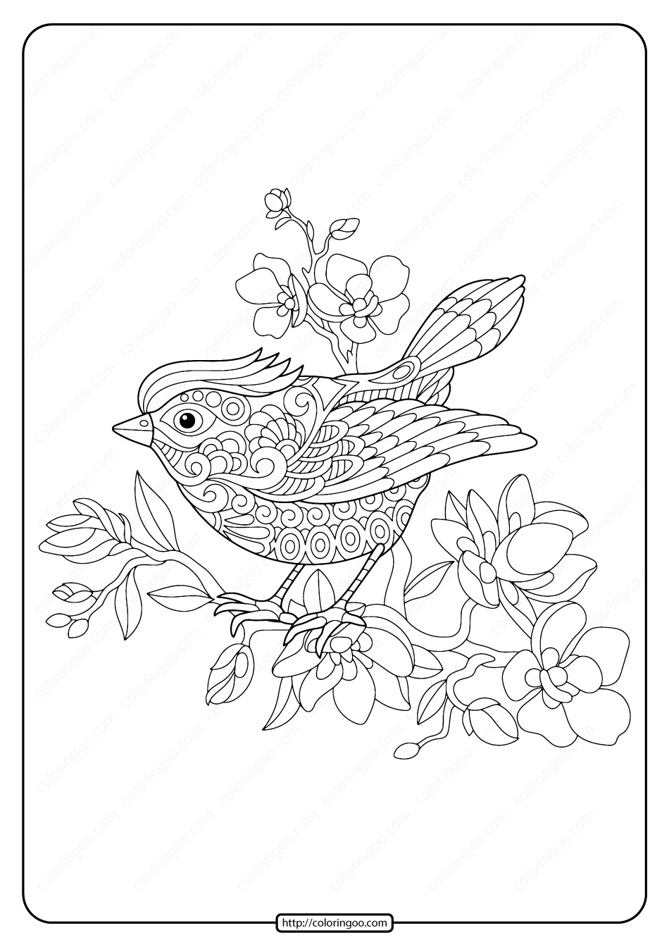 Bird On Flowering Tree Branch Coloring Page