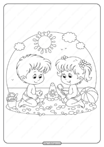 Boy and Girl Playing On The Beach Coloring Page
