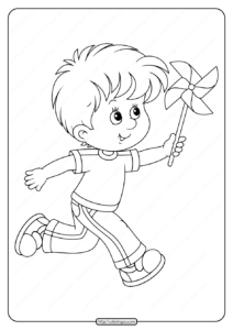 Boy Playing With Pinwheel Pdf Coloring Page