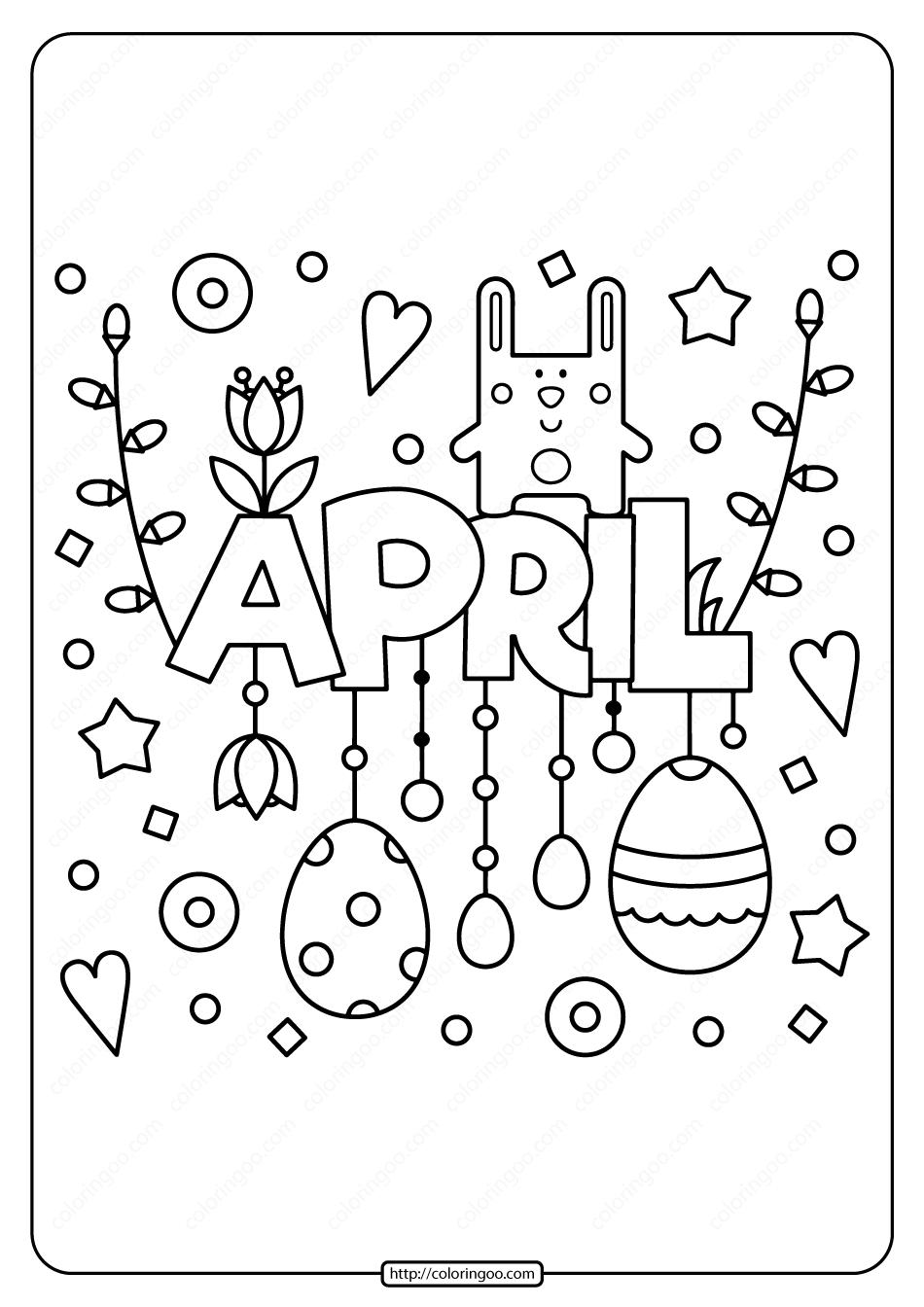 Printable April Pdf Coloring Page