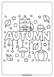 Free Printable Autumn Pdf Coloring Page