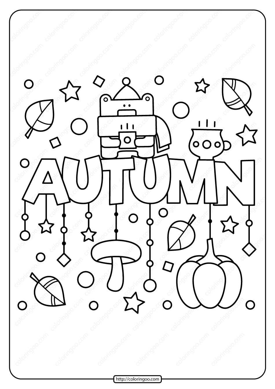 Free Printable Autumn Pdf Coloring Page