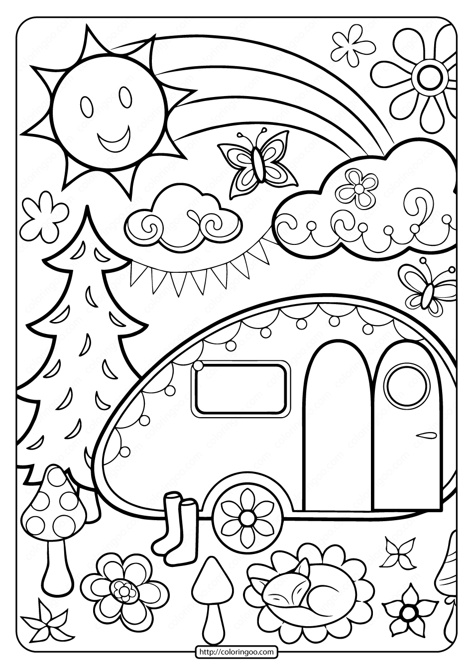 Free Printable Happy Campers Coloring Page
