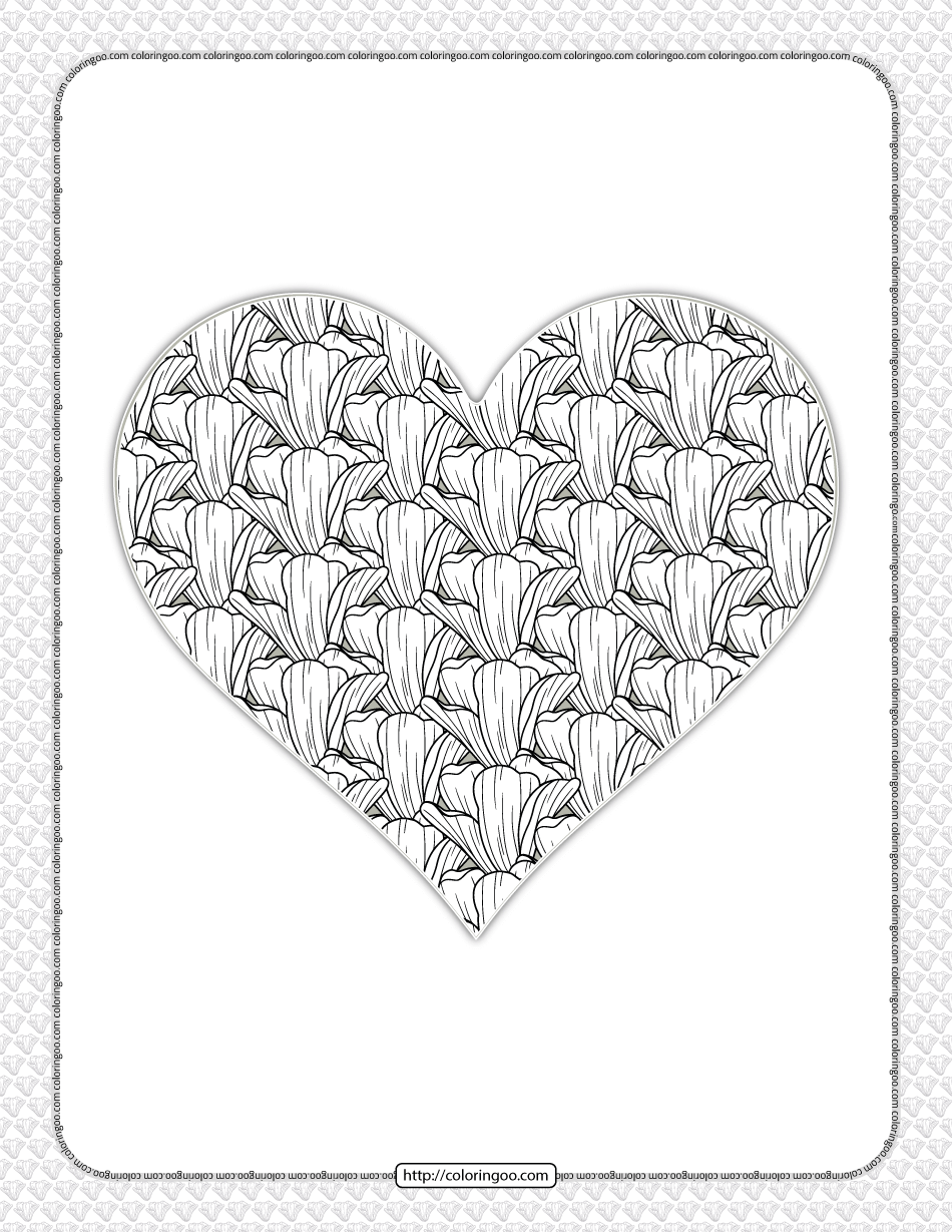 Free Printable Heart Flower Coloring Page