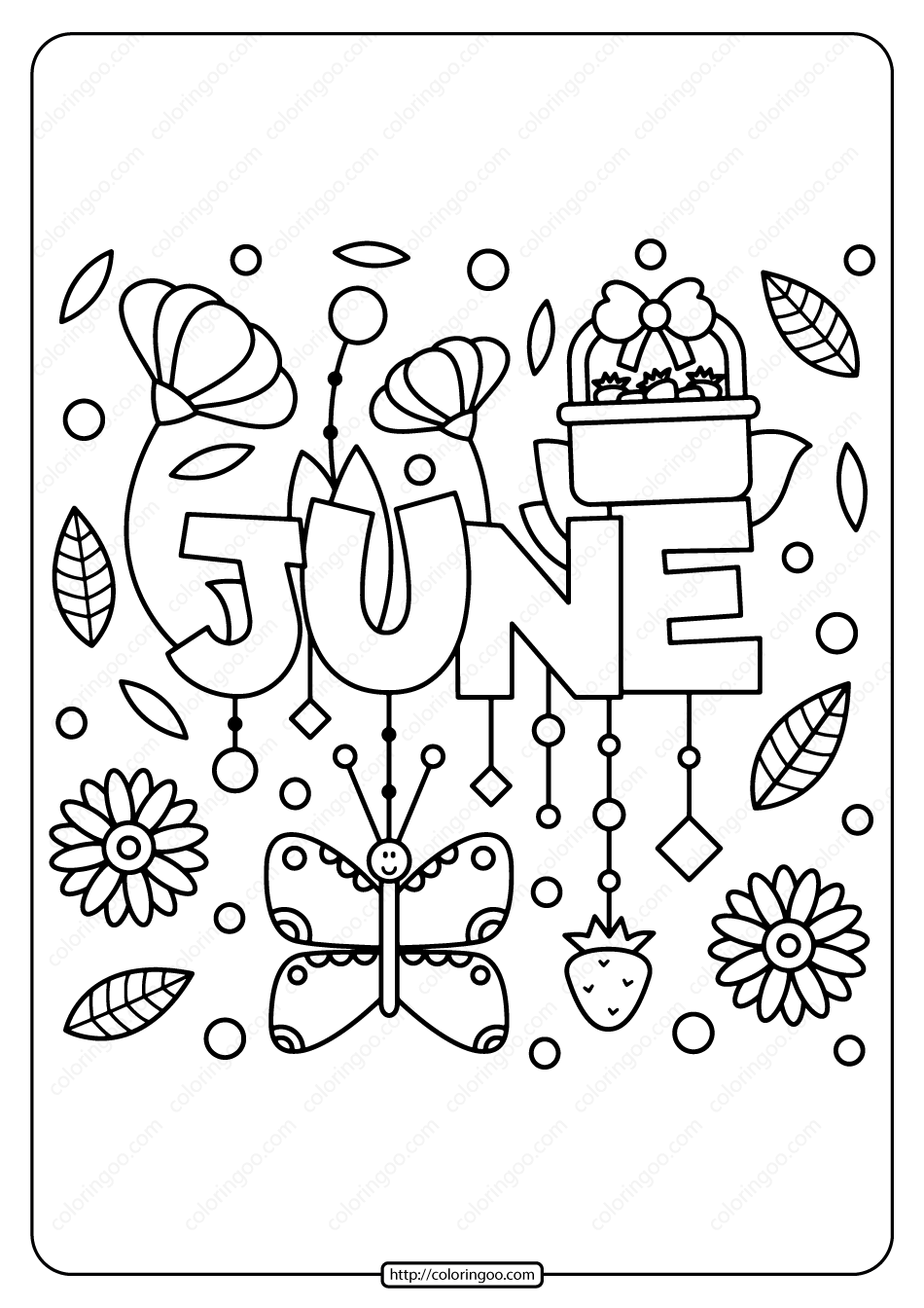 Free Printable June Pdf Coloring Page