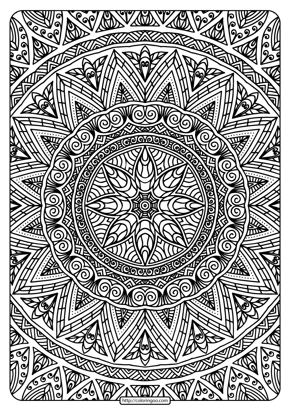 Free Printable Mandala Adult Coloring Book