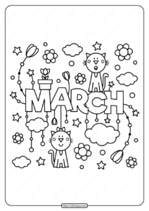 Free Printable March Pdf Coloring Page