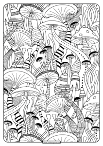 Free Printable Mushrooms Adult Coloring Book