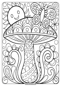 Free Printable Mushroom Adult Coloring Page