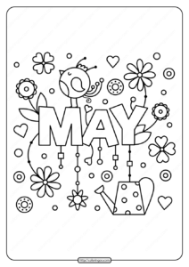 Free Printable May Pdf Coloring Page