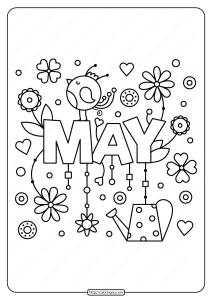 Free Printable May Pdf Coloring Page