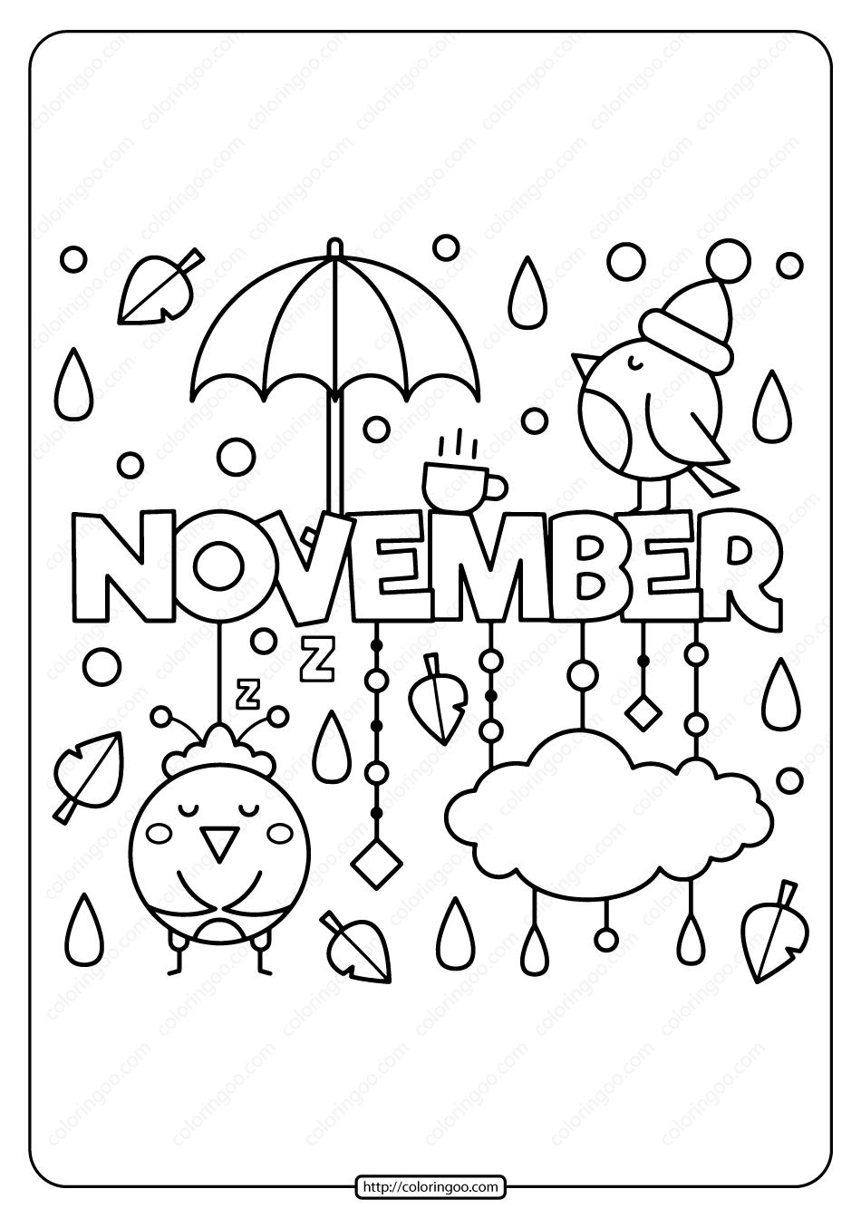 Free Printable November Pdf Coloring Page
