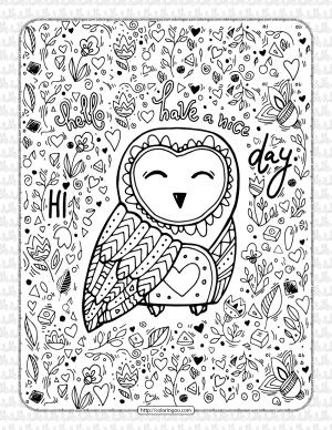 Free Printable Owl Adult Pdf Coloring Page