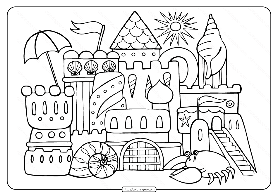 Free Printable Sandcastle Adult Coloring Page