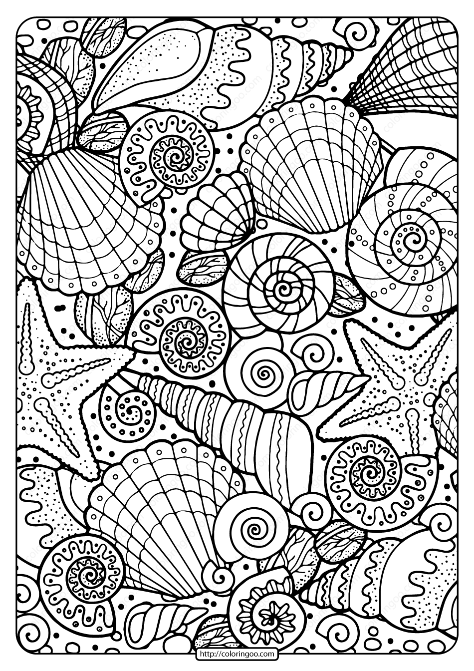 Free Printable Seashells Pdf Coloring Page