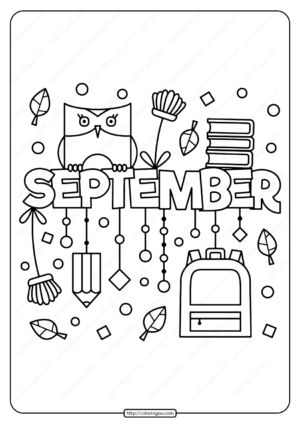 Free Printable September Pdf Coloring Page
